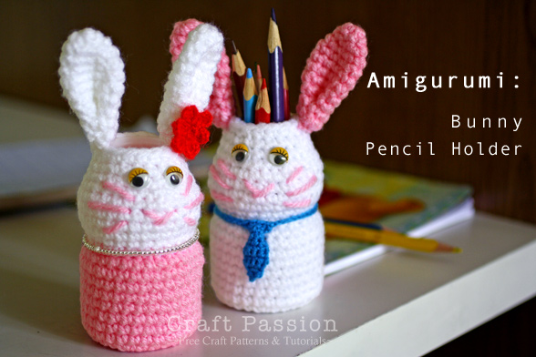 Crochet Bunny Pencil Holder