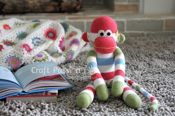 Sock Monkey Amigurumi Crochet Pattern