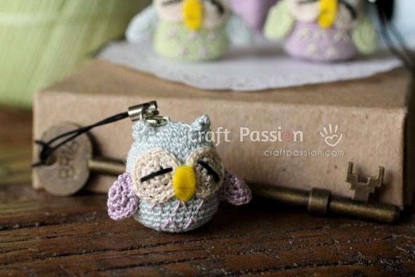mini owl amigurumi charm