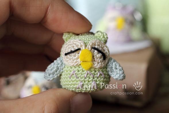 little owl amigurumi charm