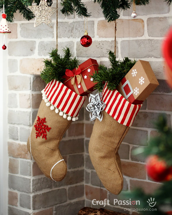 christmas stocking burlap
