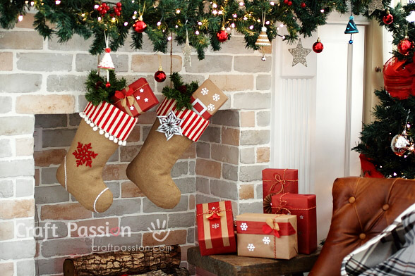 burlap christmas stocking fireplace