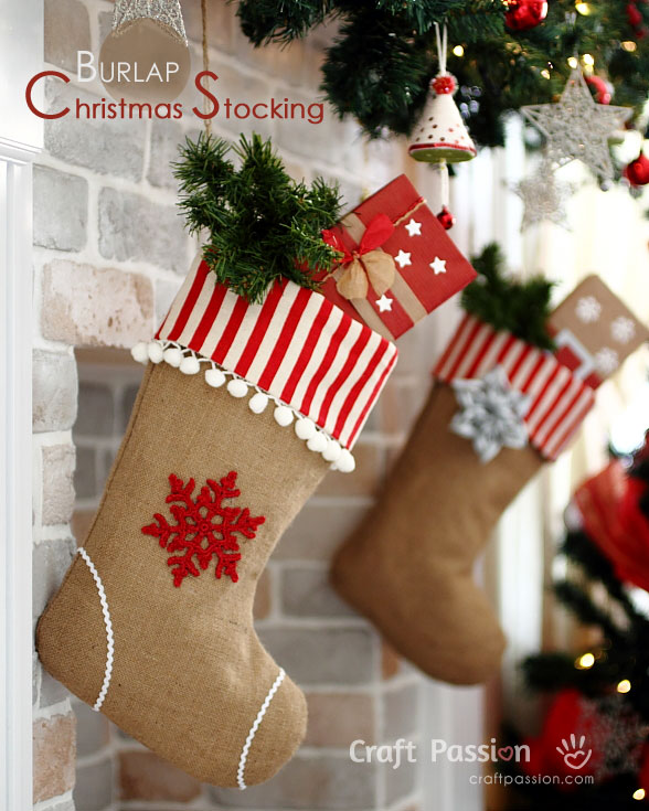 burlap christmas stocking free sew pattern craft passion