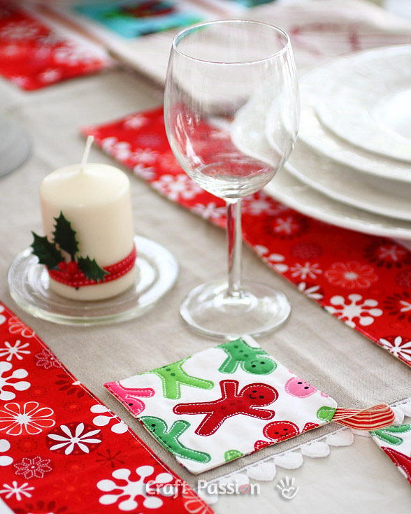 gingerbread man christmas placemats coasters