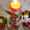 DIY Frosted Glass Jar Tealight Stand