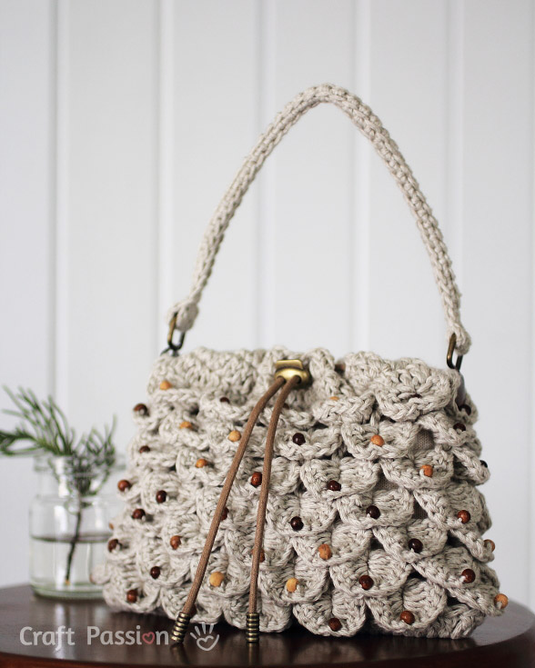 Crocodile Stitch Drawstring Purse Free Crochet Pattern