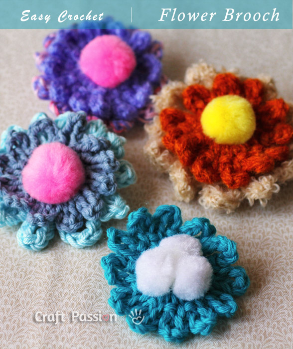 Flower Brooch - Free Crochet Pattern | Craft Passion