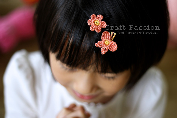 crochet flower & butterfly hair clips