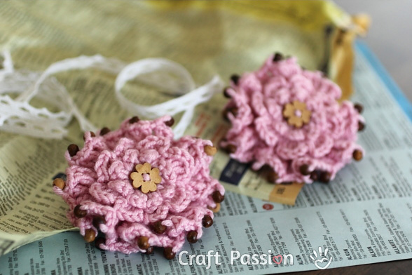 crochet beaded Layered Ruffle Flower
