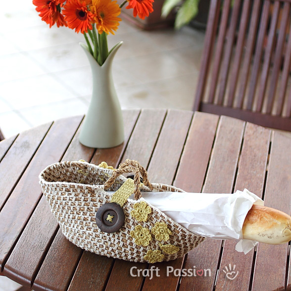beautiful floral picnic basket with bread