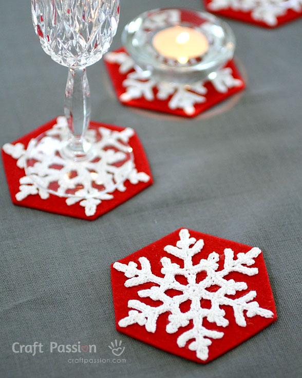 snowflakes coasters
