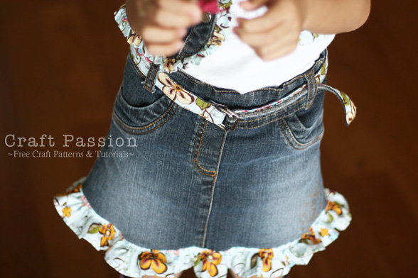 recycle denim skirt