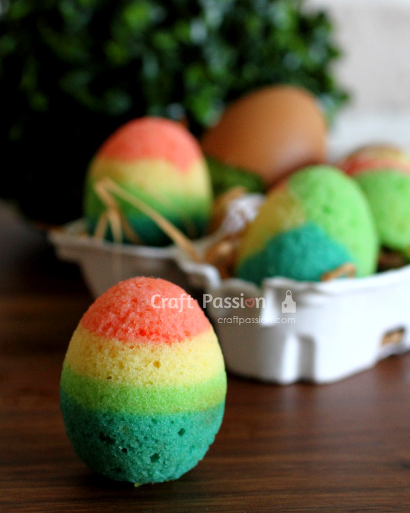 rainbow color eggshell cakes