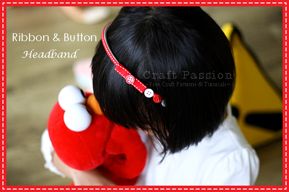 Easy Ribbon Button Headband