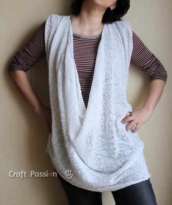 loose drapery neckline top tunic knit pattern
