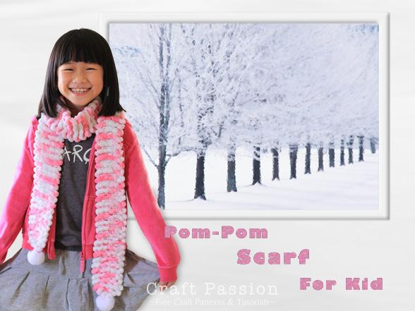 kid scarf pom pom