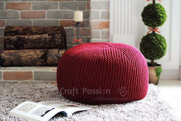 Pouf Knitting Pattern Free Craft Passion