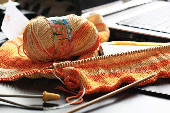 orange yarn knit