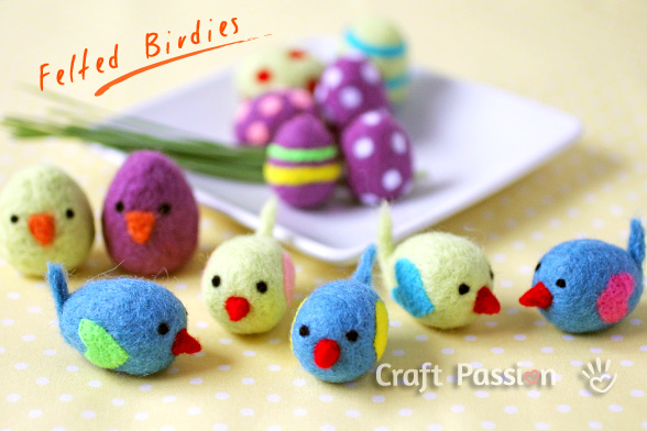 needle felted birdies