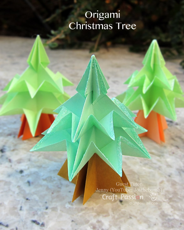 Christmas Tree Origami Free Tutorial Craft Passion