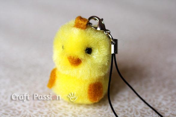 pom pom chick keychain
