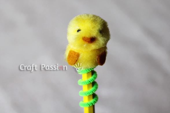pom pom chick pencil topper