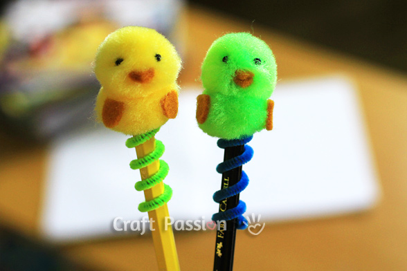 diy chick pencil topper