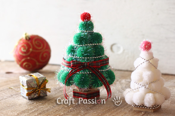 kid christmas craft pom pom tree