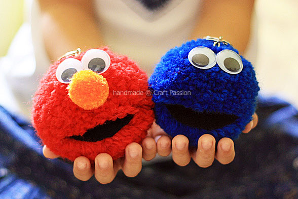 DIY Pom Pom Elmo& Cookie Monster