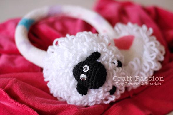 Warm sheep earmuffs crochet pattern