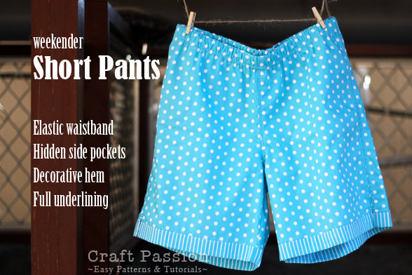 Short Pants Free Sewing Pattern Tutorial Craft Passion