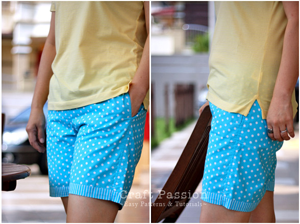 adult weekend short pants sewing pattern