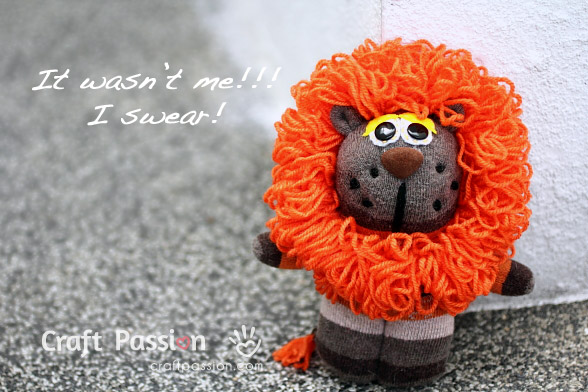 Single Sock Lion Sewing Pattern