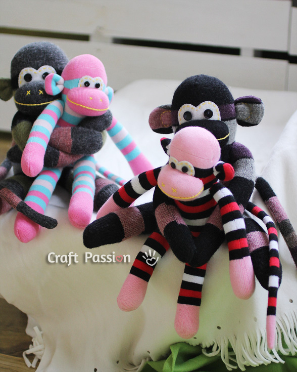 sew monkey doll from sock