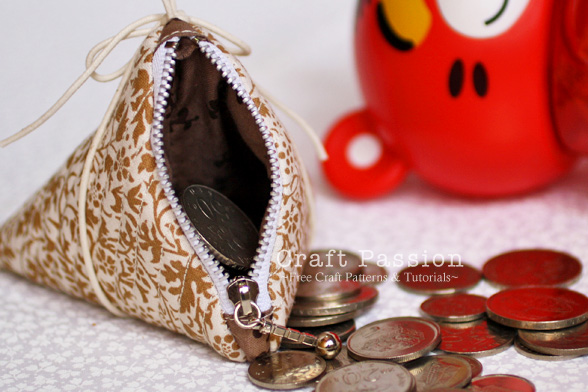 triangle zipper coin purse