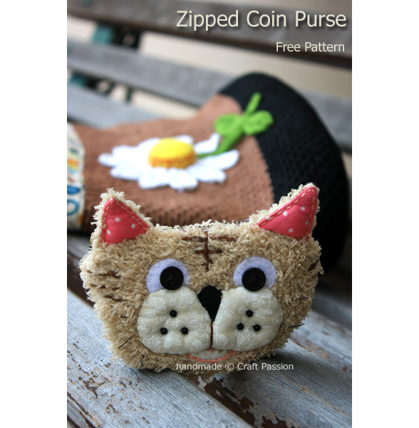 tiger zipper coin purse