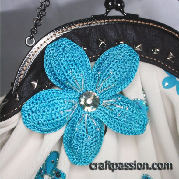 Blue Crochet Flower