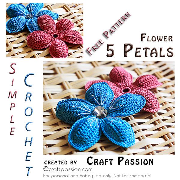5 Petal Flower Free Crochet Pattern Craft Passion
