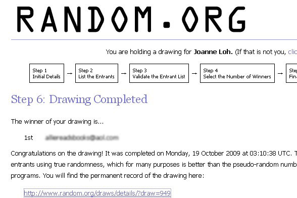 Giveaway Winner – October 2009