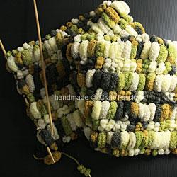 knit Pom Pom Mink Scarf