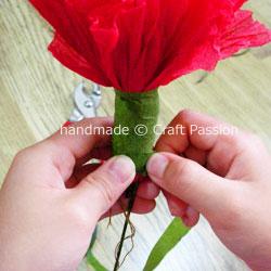 wrap floral tape on flower stem