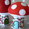 Toadstool Cottage & Mushroom House Pincushion by The Little House By The Sea