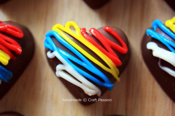 Red Yellow Blue White Heart Chocolate