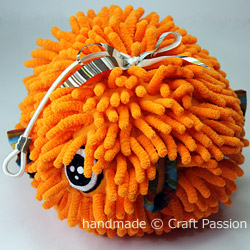Sewing Puffer Fish From Microfiber Chenille Mitten