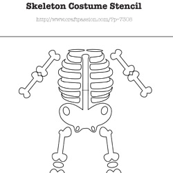 graphic regarding Skeleton Stencil Printable named Skeleton Gown - Do-it-yourself Halloween Gown Craft Pion