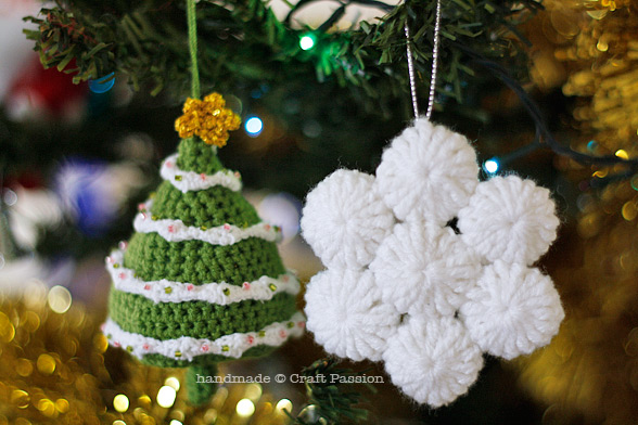 Crochet yo-yo puff snow flakes christmas ornament