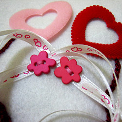 Stitch ribbon and buttons