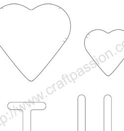 I love U Heart template pattern