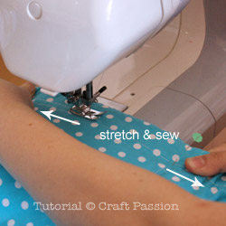 how to top stitch elastic band on short pant