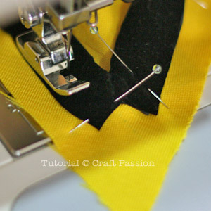 Sew piping with zipper footer